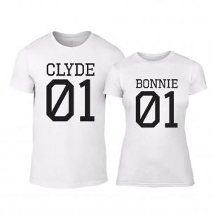Μπλουζες για ζευγάρια Bonnie 01 & Clyde 01 λευκό