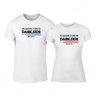 Μπλουζες για ζευγάρια Join the Darkside with me λευκό