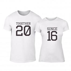 Μπλουζες για ζευγάρια Together Since 2016 λευκό