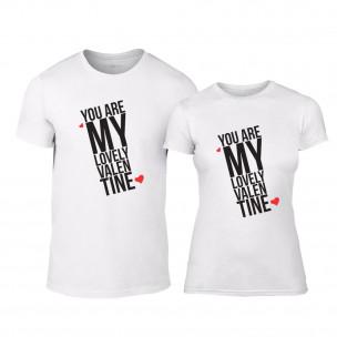 Μπλουζες για ζευγάρια My Lovely Valentine λευκό