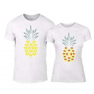 Μπλουζες για ζευγάρια Pineapple λευκό