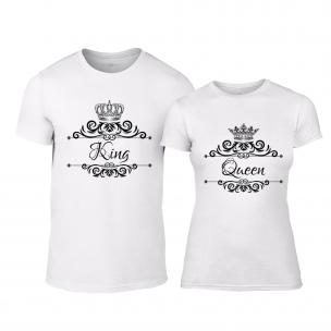 Μπλουζες για ζευγάρια Romantic King Queen λευκό