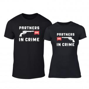 Μπλουζες για ζευγάρια Partners in Crime μαύρο