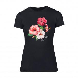 Γυναικεία Μπλούζα Flowers μαύρο