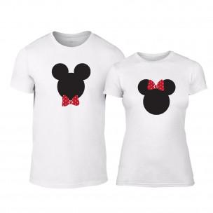 Μπλουζες για ζευγάρια Mickey & Minnie λευκό