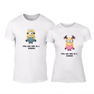 Μπλουζες για ζευγάρια One in a Minion λευκό
