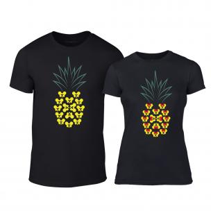 Μπλουζες για ζευγάρια Pineapple μαύρο TEEMAN