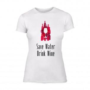 Γυναικεία Μπλούζα Save Water Drink Wine λευκό