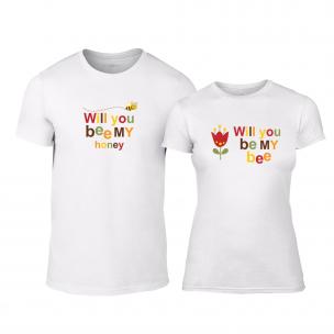 Μπλουζες για ζευγάρια Bee & Honey λευκό