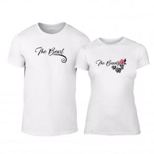 Μπλουζες για ζευγάρια Тhe Beauty & The Beast λευκό