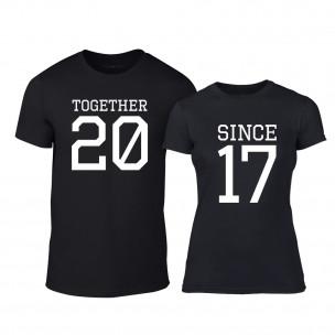 Μπλουζες για ζευγάρια Together Since 2017 μαύρο