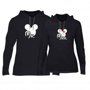Φούτερ για ζευγάρια Mr. Mickey Mrs. Minnie μαύρο