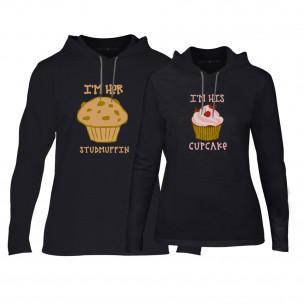 Φούτερ για ζευγάρια Muffin Cupcake μαύρο