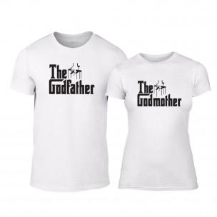 Μπλουζες για ζευγάρια Godfather & Godmother λευκό