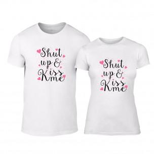 Μπλουζες για ζευγάρια Shut up & Kiss me λευκό