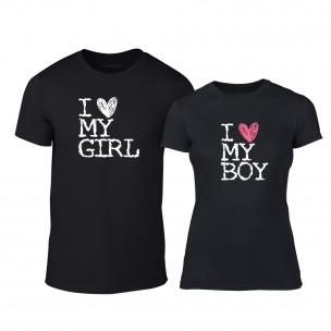 Μπλουζες για ζευγάρια Love My Girl Love My Boy μαύρο