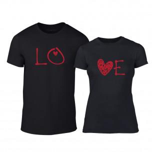 Μπλουζες για ζευγάρια LOVE μαύρο