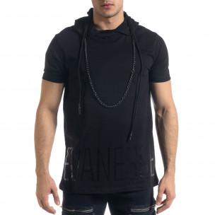 Ανδρική μαύρη κοντομάνικη μπλούζα RNT23