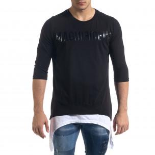 Ανδρική μαύρη κοντομάνικη μπλούζα Open