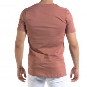 Ανδρική ροζ κοντομάνικη μπλούζα Clang  2