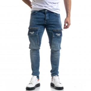 Slim fit ανδρικό μπλε τζιν με τσέπες