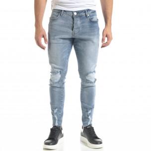 Ανδρικό γαλάζιο τζιν Slim fit με σκισίματα