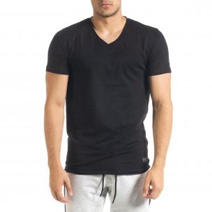 Ανδρική μαύρη κοντομάνικη μπλούζα Clang