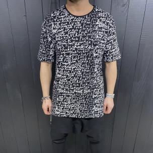 Ανδρική μαύρη κοντομάνικη μπλούζα Black Island