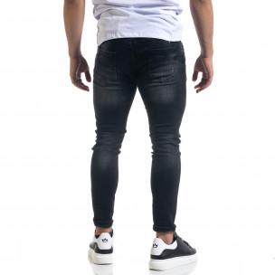 Slim fit ανδρικό μαύρο τζιν με ςταγόνες χρωμά  2
