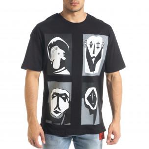 Ανδρική μαύρη κοντομάνικη μπλούζα SAW
