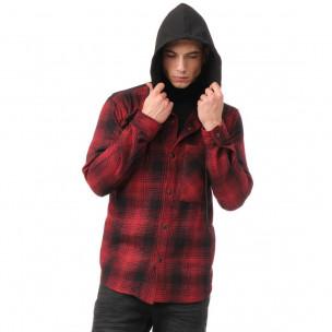 Ανδρικό κόκκινο πουκάμισο τύπου φούτερ