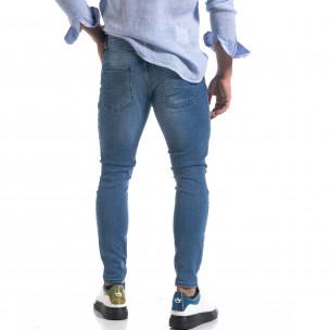 Ανδρικό μπλε τζιν Slim fit με σκισίματα  2