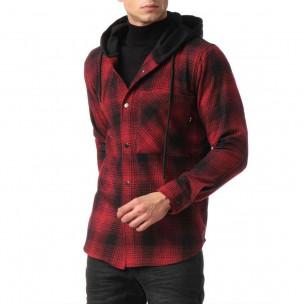 Ανδρικό κόκκινο πουκάμισο τύπου φούτερ 2