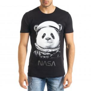 Ανδρική μαύρη κοντομάνικη μπλούζα Panda