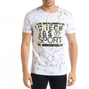 Ανδρική λευκή κοντομάνικη μπλούζα Lagos