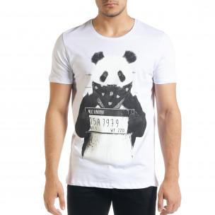Ανδρική λευκή κοντομάνικη μπλούζα Panda