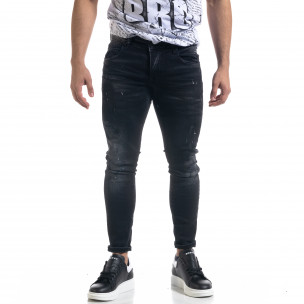 Slim fit ανδρικό μαύρο τζιν με ςταγόνες χρωμά