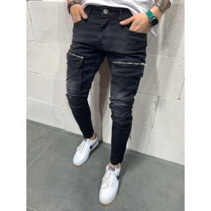 Slim fit αντρικό μαύρo τζιν με τσέπες 2Y Premium