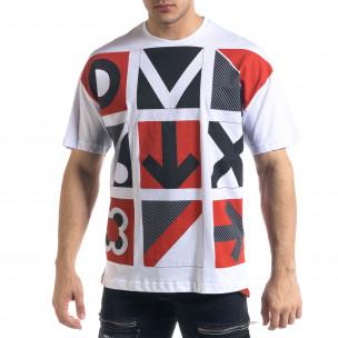 Ανδρική λευκή κοντομάνικη μπλούζα SAW