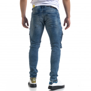 Slim fit ανδρικό μπλε τζιν με τσέπες  2