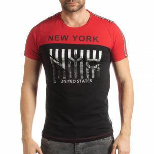 Ανδρική κόκκινη- μαύρη κοντομάνικη μπλούζα New York
