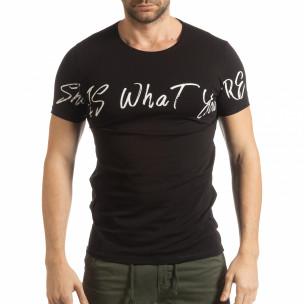 Ανδρική μαύρη κοντομάνικη μπλούζα She is What