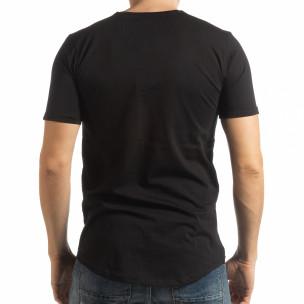 Ανδρική μαύρη κοντομάνικη μπλούζα με καλλιγραφικό πριντ  2