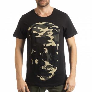 Ανδρική μαύρη κοντομάνικη μπλούζα με νεκροκεφαλή παραλλαγής