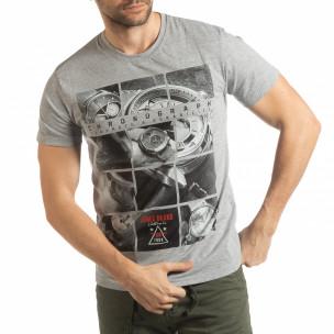 Ανδρική γκρι κοντομάνικη μπλούζα Chronograph
