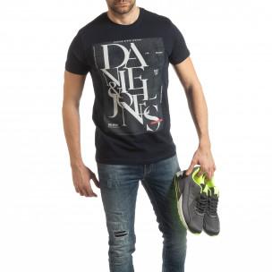 Ανδρική μπλε κοντομάνικη μπλούζα Denim Company