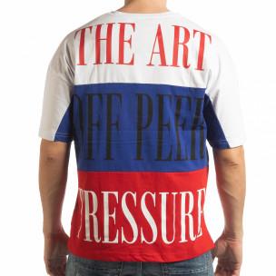 Ανδρική πολύχρωμη κοντομάνικη μπλούζα με λευκό, μπλε, κόκκινο χρώμα  2