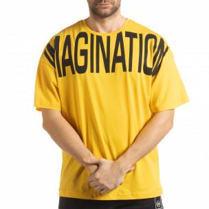 Ανδρική κίτρινη κοντομάνικη μπλούζα Imagination