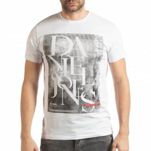 Ανδρική λευκή κοντομάνικη μπλούζα Denim Company