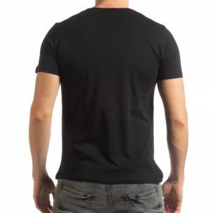 Ανδρική μαύρη κοντομάνικη μπλούζα σε στυλ Patchwork 2